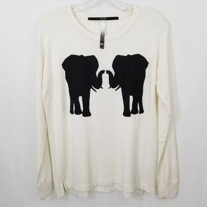 Kensie Elephant Graphic Top Sz M